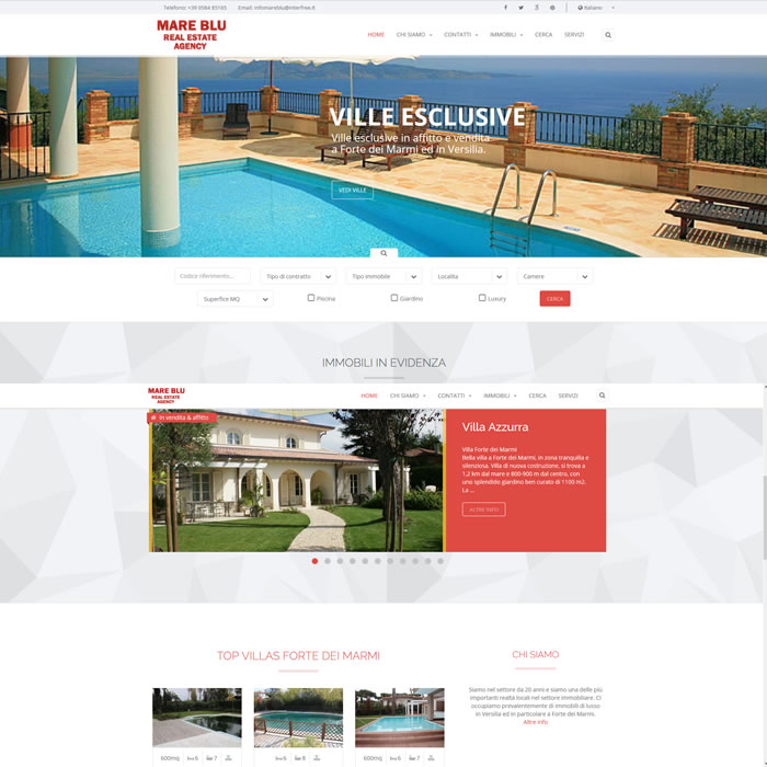 Mare Blù real estate Responsive web site